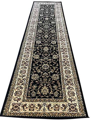 (Traditional Long Persian 330,000 Point Runner Rug Black Design #601(31in.X9ft.10in.))