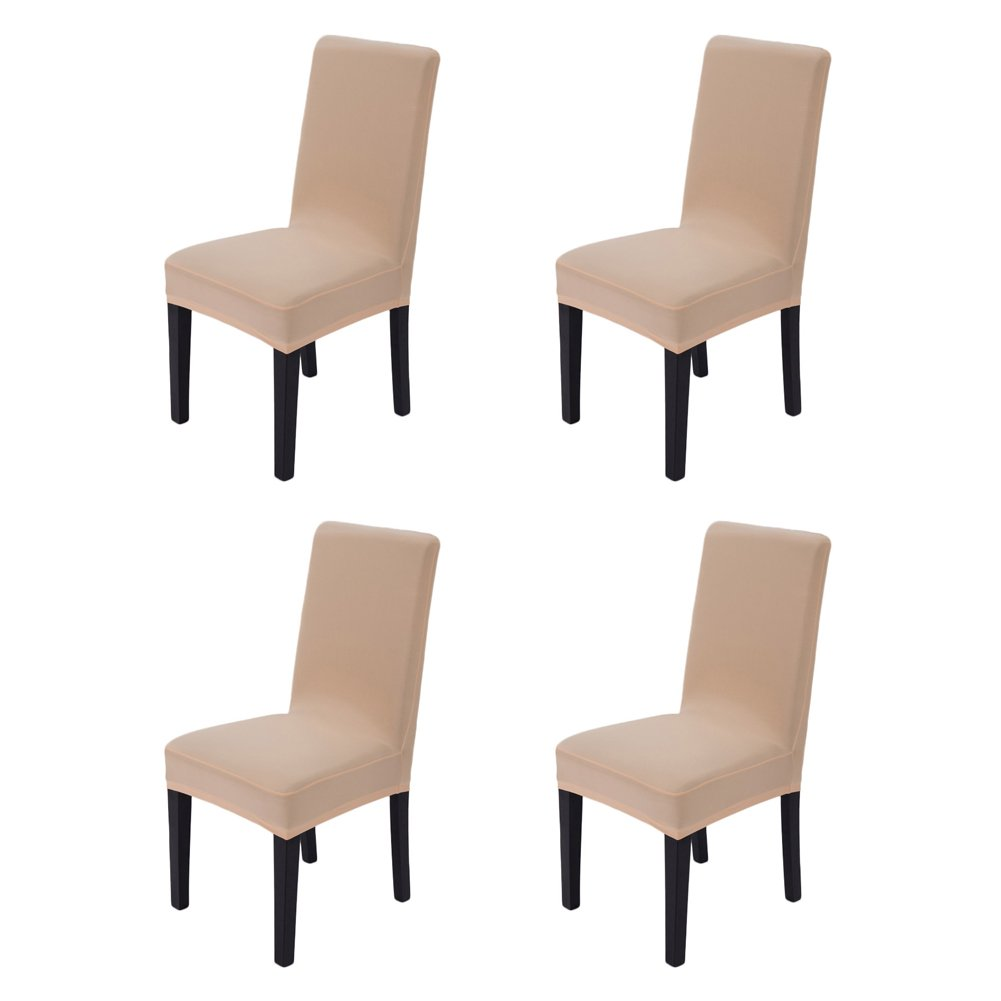 Hemons 4pcs Solid Color Stretchy Removable Washable Chair Covers Ceremony Hotel Dining Room Kitchen Bar Dining Seat Cover Restaurant Wedding Part Decor (Champagne)