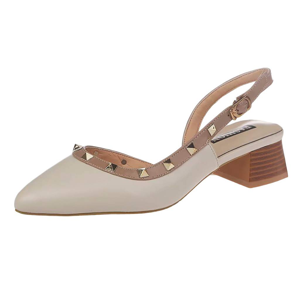 Thenxin Spring Womens Slide Sandals for Rivets Thick Heel Casual Shoesfor Dress Wedding Party (Beige,6 US) by Thenxin-sandals