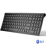 iClever Bluetooth Keyboard, Universal Wireless Keyboard, Rechargeable Bluetooth 5.1 Multi Device Keyboard with Number Pad Ergonomic Design Full Size Stable Connection for Windows, iOS, Android, Black