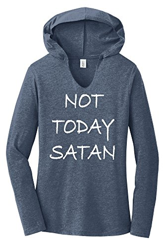 Comical Shirt Ladies Not Today Satan Funny Religious Tee Navy Frost L