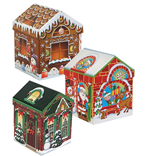 (Set of 4 Christmas Holiday House-Shaped Nested Gift Boxes with Lids)