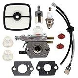 Fornateu Carburetor for Echo HC1500 Hedge Trimmer 12520005962 for Zama C1U-K51 C1U-K52 ECHO-SRM2100-GT2000-GT2100-PAS2000 Fuel Line Kit