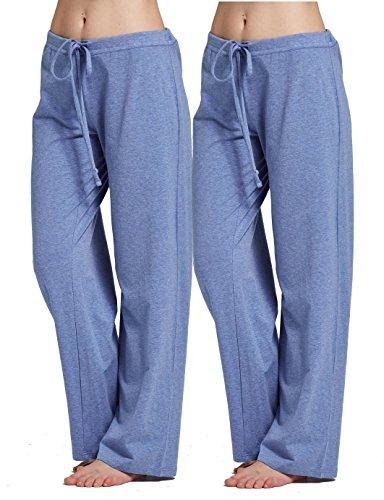 (CYZ Women's Stretch Cotton Knit Pajama Pants-DarkBlueMelange2PK-L)