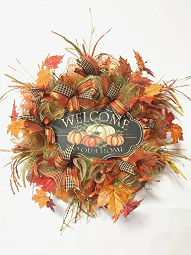 Fall Welcome Wreath (Fall Thanksgiving Welcome To Our Home Mesh Wreath)