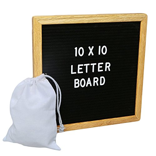 Changeable Black Felt 10x10 Letter Board Sign with 300+ Letters Numbers Symbols on a Wooden Oak Frame By JCProducts (Symbol Message Bead)