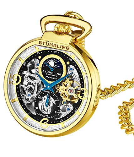 Stuhrling Orignal Mens Pocket Watch Automatic Watch Skeleton Watches for Men -Gold Pocket Watch - Mechanical Watch with Belt Clip and Stainless Steel Chain -Dual Time AM/PM Subdia
