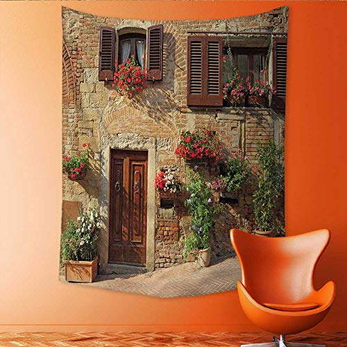 Tapestry Table Cover Bedspread Beach Towel Tuscan Picturesque Lane with Mediterranean Architecture with Flowers in an Italian HillTown Dorm Decor 70W x 84L INCH (Tuscan Series Island)