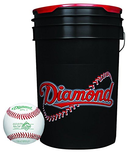 Diamond 6-Gallon Ball Bucket with 30 DPL-1 Pony League Baseballs by Diamond Sports
