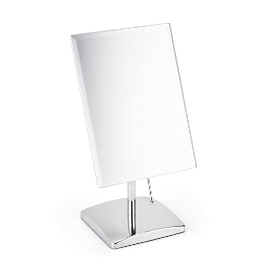 Non-magnifying Vanity Makeup Mirror Adjustable Rectangular Tabletop Mirror Portable Polished Chrome Finished for Bedroom Bathroom Traveling Glass Surface Perfect Modern Elegant Fashion Design