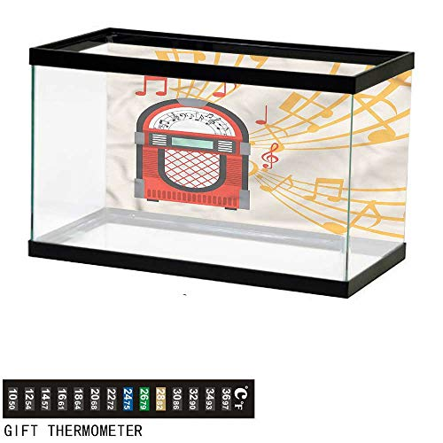 Suchashome Fish Tank Backdrop Retro,Vintage Jukebox Musical Notes,Aquarium Background,48