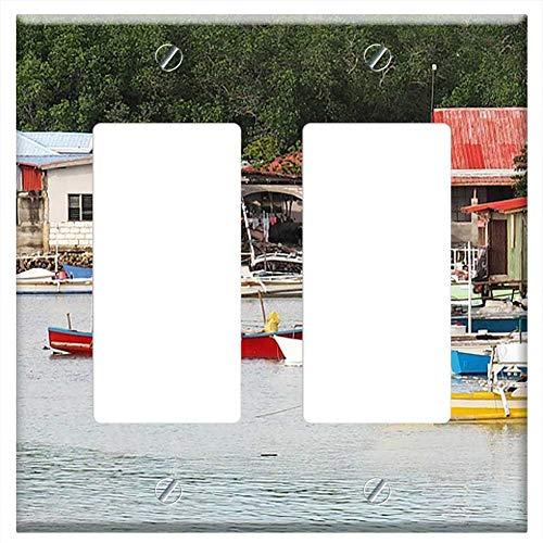 Switch Plate Double Rocker/GFCI - Boats Stilt Houses River Bank Fishing Village