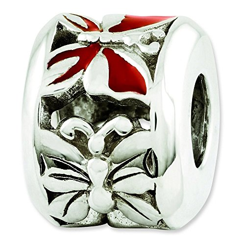 Red Enameled Butterfly Charm - 3