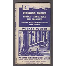 Pacific Greyhound Bus Lines Pocket Folder Schedule Redwood Empire 7/17 1946