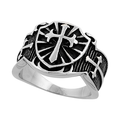 Stainless Steel St. James Cross Ring Biker Rings for men 5/8 inch long, size 10 - Wholesale Stainless Steel Rings
