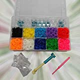 Plastic CASE Loom Band Kit ~ 2000 Rainbow Bands Loom Board, 100 Clips, 2 Hooks