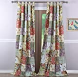 Country Cottage Floral Print Patchwork Pattern Yellow Blue Green Tab Top Window Curtains Panels Pair 84 Length Set of 2