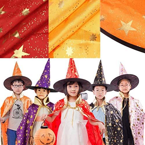 Adeshop Cape Pièces D'halloween Sorcière Halloween Habille Ensemble Costume De Enfants Chapeau Assistant Cosplay Violet Déguisement 2 A8nxAr