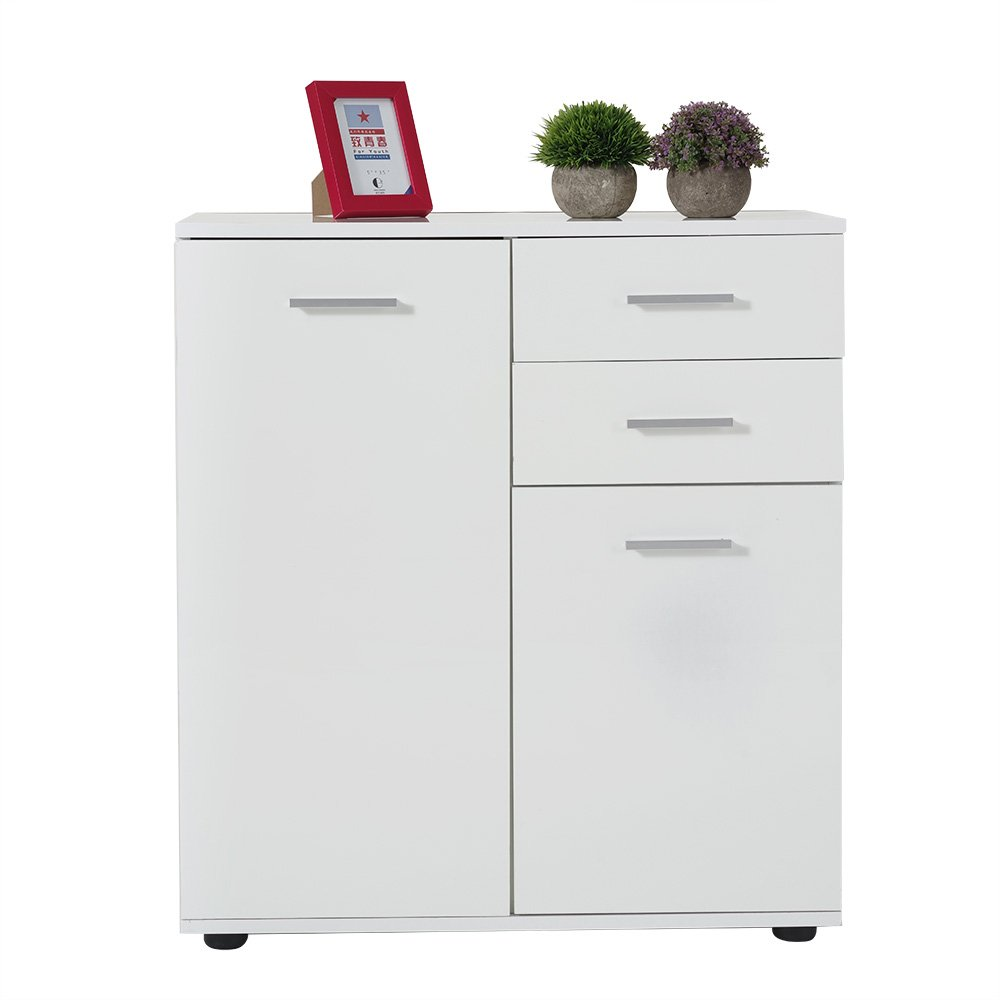 MissSnower High Gloss Cabinet 2 Doors 2 Drawers Cupboard Sideboard Bedroom Furniture White