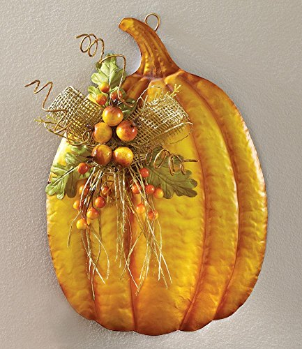 Floral Pumpkin Metal Wall Art Fall Decoration