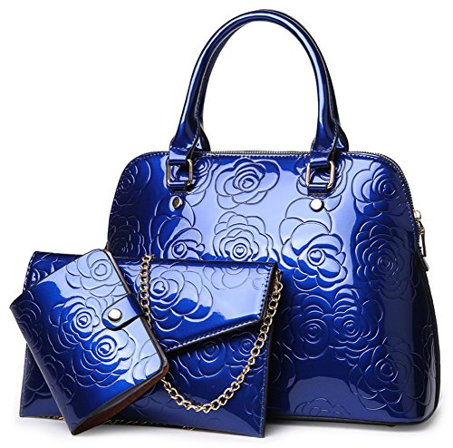 QZUnique Women's Shiny Patent PU Leather Top Handle Bag Tote Cross boday Bag Satchel