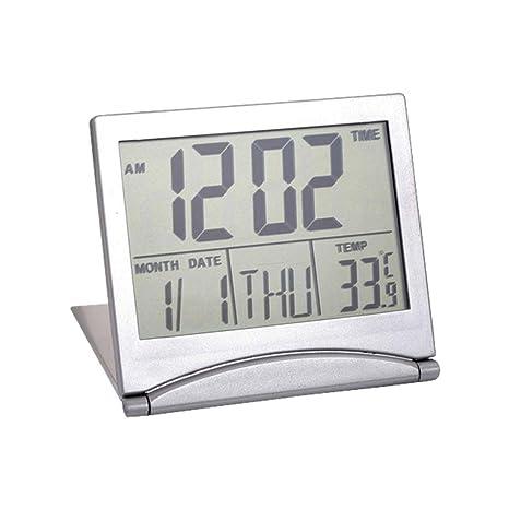 Aofocy Escritorio Digital LCD termómetro Calendario Reloj Despertador