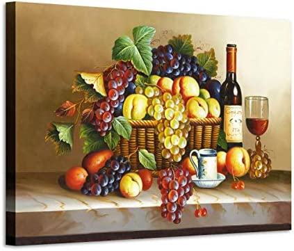 Grape Wine Picture Wall Art: Red Wine Fruit Artwork Painting on Canva