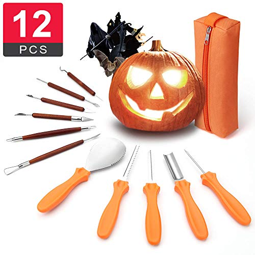Best Deal 12 PCS Pumpkin Carving Kit Tools with Double-Side Professional Detail Sculpting Tool, Heavy Duty Stainless Steel with Carrying Case, As Carving Knife for Pumpkin Jack-o-Lanterns Halloween