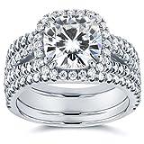 Cushion Moissanite and Diamond Split Shank Halo Bridal Set 3 CTW 14k White Gold, 3pc (FG/VS, GH/I)