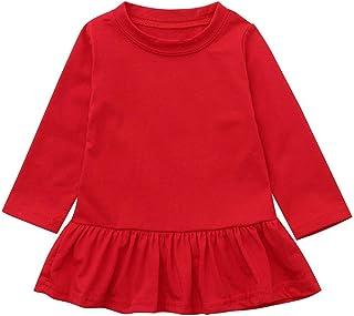 Baby Girls Dress, Waymine Infant Long Sleeve Solid Ruffle Princess Skirt 3-24M