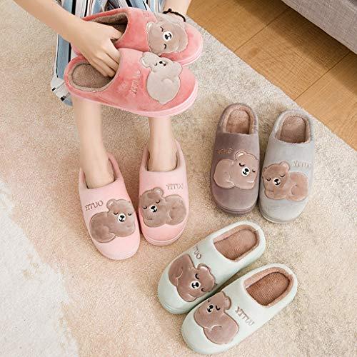 Rutschfeste AMINSHAP Pink Unterseite Weibliche Tasche Pelzpantoffeln Indoor Lovers Halbe größe Dicke Baumwolle Hausschuhe 40EU Winter 39 Pink Modelle Mit Home Nette Farbe rwqxrP1f
