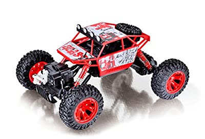 Coolmade RC Car Conqueror Electric RC Truck Rock Crawler 2.4Ghz 4 Wheel Drive 1:18 Racing Cars Climber Trucks Toy for Kids 4WD Extreme Crawler Off-Road RC Vehicle (2 Battery inside) - Red