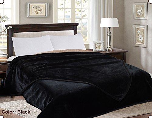 MarCielo One Ply Korean Blanket, Faux Mink Blanket, Winter Heavy Blanket, Ultra Silky Soft Velvet Plush Throw Blankets (King, Black)