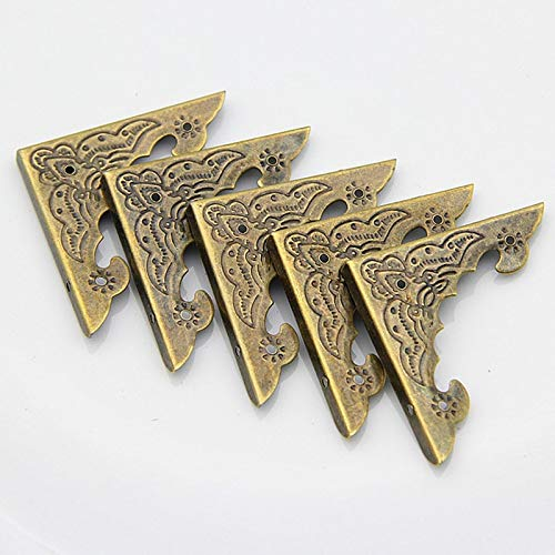 12Pcs//Set Antique Brass Decor Jewelry Chest Wooden Box Corner Protector Guard