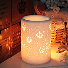 ToiM Milk White Ceramic Hollowing Floral Aroma Lamp Candle Warmers Fragrance Warmer Oil Diffuser Essential Oil Lamp Aromatherapy Furnace Ceramic Incense Burner Wax Melt Warmer (Vase Shaped)