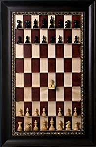 Beautiful Taj Mahal Chess pieces on vertical wall hung Red Maple Straight Up Chess board with the Dark Bronze frame