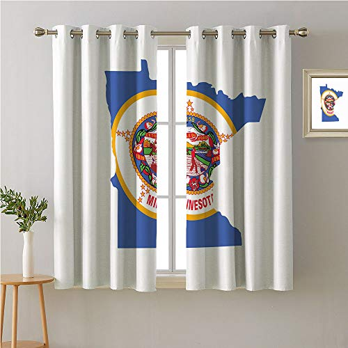 Jinguizi Minnesota Grommet Darkening/Blackout,Map and Flag of North Star State Lady Slippers Farmer Native American on Horse,Microfiber Darkening Curtains,108W x 72L