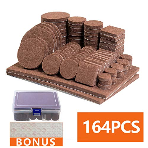 - Self-Stick Felt Furniture Pads - 134 pcs Non Slip Furniture Pads with 30 Clean Rubber Bumpers, Best Chair Leg Floor Protectors, Anti Scratch, Moving Easily, Various Heavy Duty Furniture Felt Feet Pads
