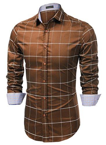JINIDU Men's Cotton Long Sleeve Plaid Button Down Shirts Slim Fit Dress Shirt Brown