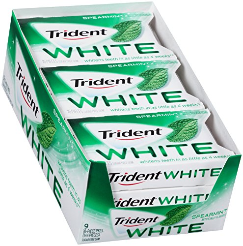 Trident White Spearmint Sugar Free Gum - 9 Packs (144 Pieces Total) ()