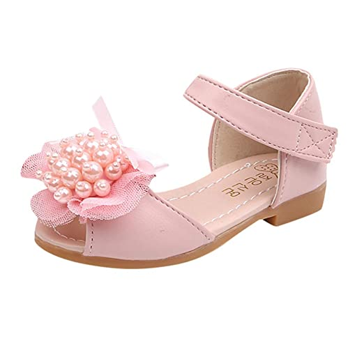 4645dcf39c0f Amazon.com  Riverdalin Toddler Infant Kids Mary Jane Sandals Baby Girls  Lace Pearl Princess Shoes Single Shoes Wedding Party Shoes  Clothing