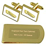 Golden Football Rugby Boot Gold-tone Cufflinks Money Clip Engraved Gift Set