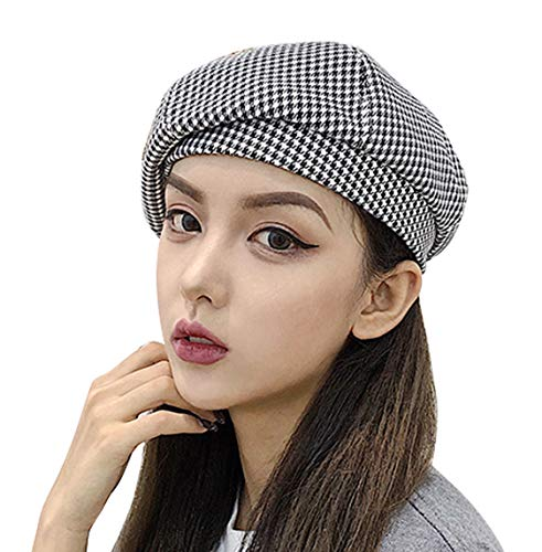 Clecibor Cotton Blend Houndstooth Print Beret Elastic French Style Painter Hat Cap Black White