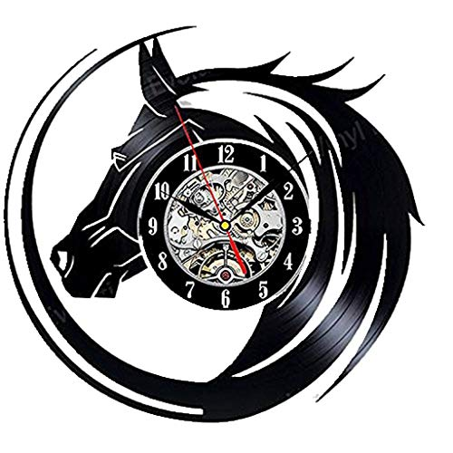 Vinyl Record Wall Clock Horse Head Wall Watch Classic Clock