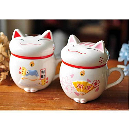 Zoomy Far: Real Beer Caneca Wholesale Lucky for Cats Animal Ceramic Coffee Tea Cup, cute Maneki Neko Mug, creative Water Cup Gifts Pink/red