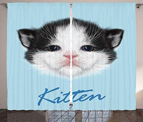 [Cartoon Decor Curtains Portrait of Domestic Kitten Newborn Bicolor Fury Head Pink Wet Nose Artsy Graphic Living Room Bedroom Decor 2 Panel Set Black White Blue,Size:2 x 54
