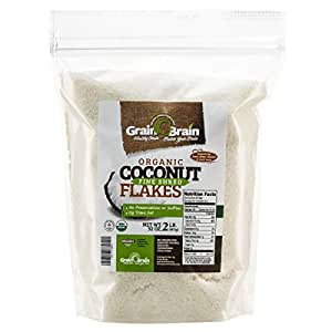 Grain Brain Organic Fine Shredded Coconut (2lb) Unsweetened, Sulfate free, Gluten Free Packaged in resealable pouch bags
