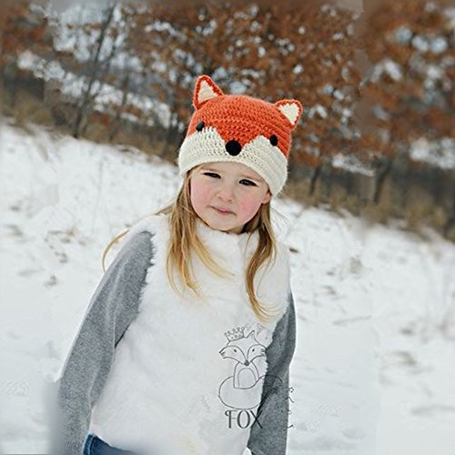 e4b6aea779f Easytop Winter Kids Warm Fox Animal Hats Knitted Coif Hood Scarf ...