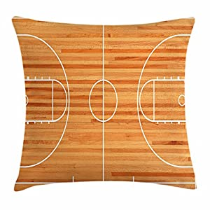 Lunarable Boy's Room Throw Pillow Cushion Cover, Standard Floor Plan on Parquet Backdrop Basketball Court Playground Print, Decorative Square Accent Pillow Case, 36 X 36 Inches, Pale Brown White