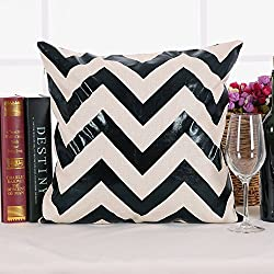 Deconovo Recycled Cotton Chevron Stripe Foil Print Decorative Geometic Cushion Throw Pillow Cover with Invisible Zipper for Patio Furniture, Black, 18×18